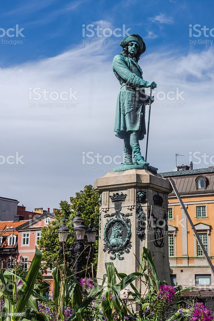 Monument to Charles XI of Sweden stock photo
