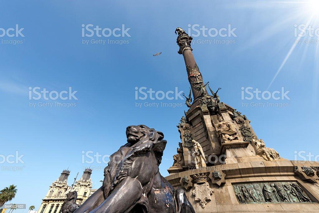 Monument to Christopher Columbus - Barcelona stock photo