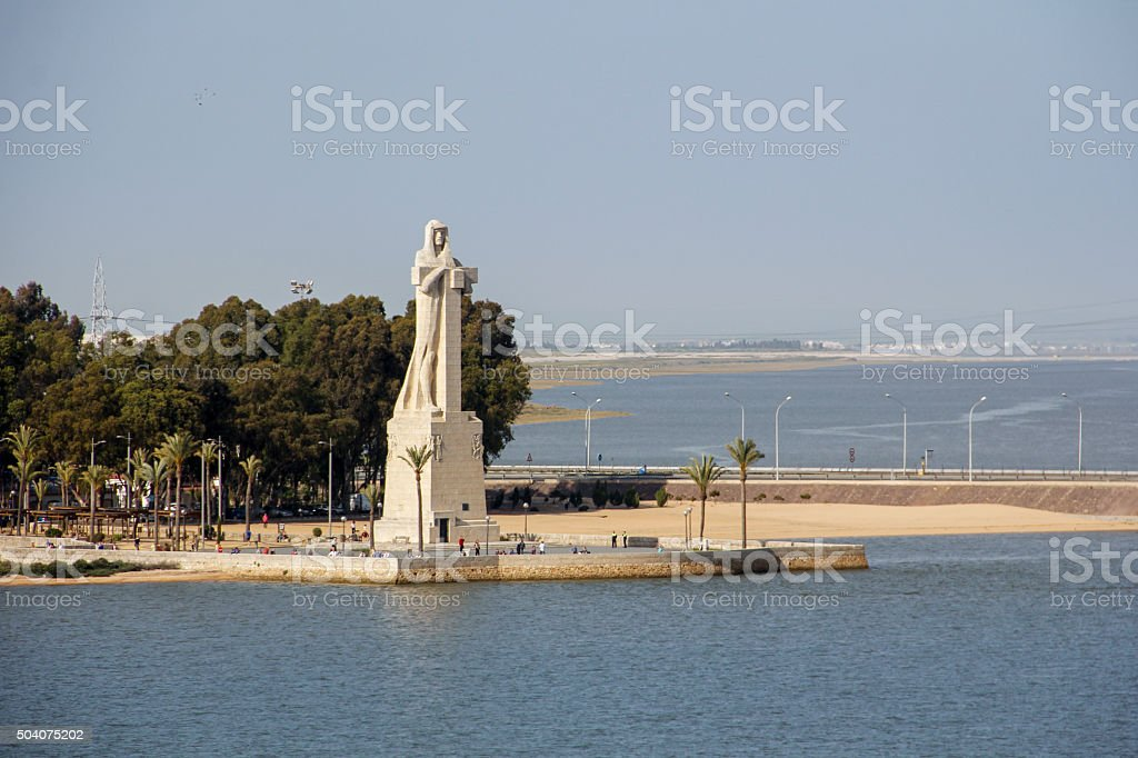 Monument to Christopher Columbus in Spain stock photo