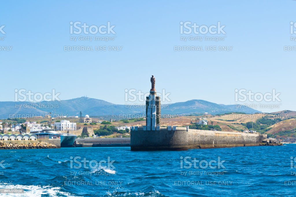 TARIFA, SPAIN - JUNE 13, 2013: Monument to Christopher Columbus. Tarifa — the city and municipality on the southernmost tip of Spain, enters the province Cadiz, as a part of autonomous community Andalusia. stock photo