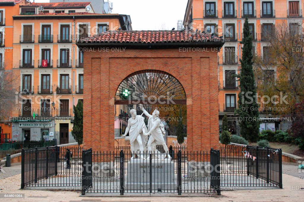 Monument to Daoiz and Velarde at the Square of May 2nd in Madrid, Spain stock photo