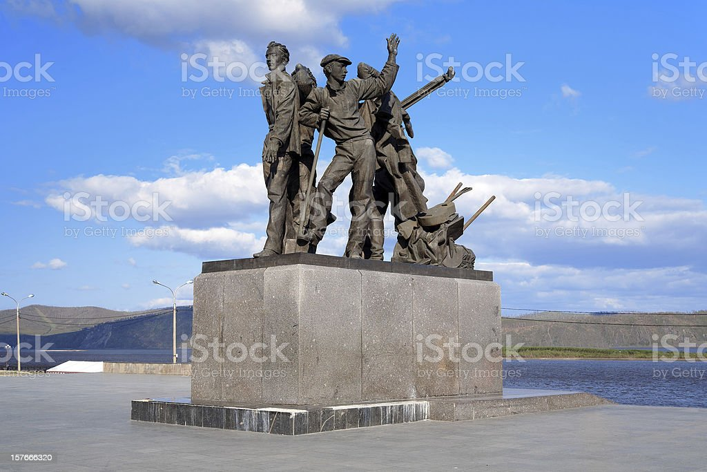 Monument to first builders of Komsomolsk-on-Amur, Russia stock photo