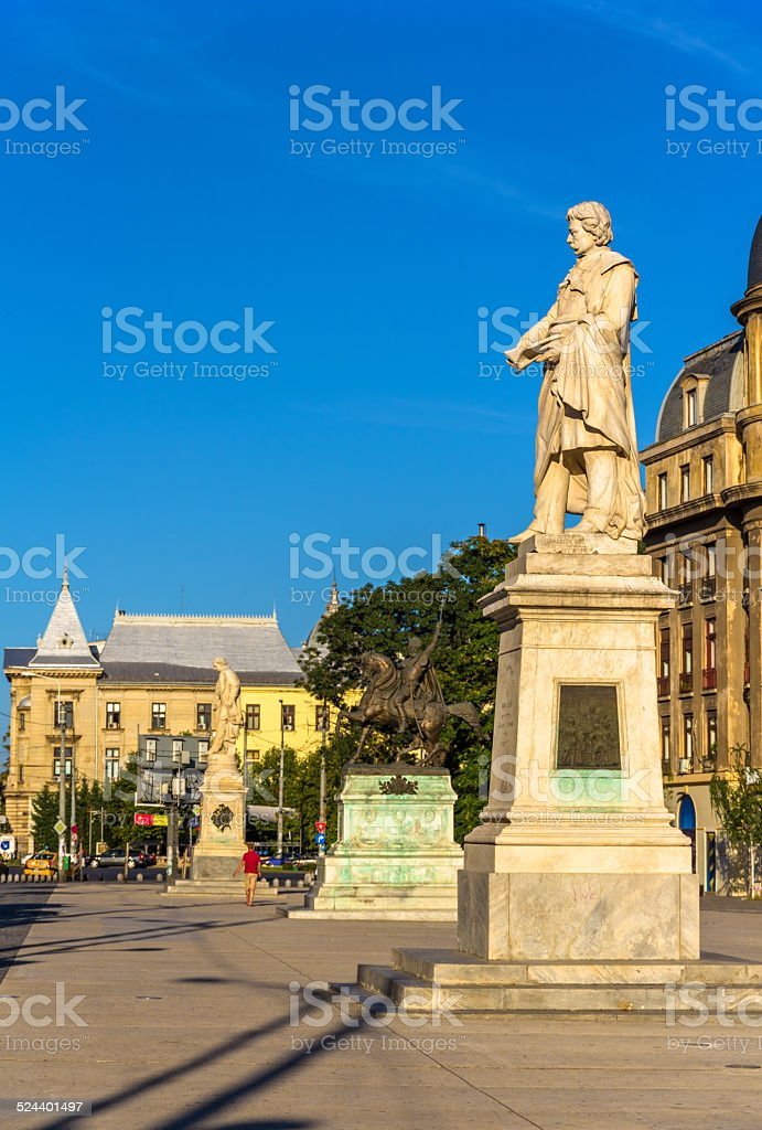 Monument to Gheorghe Lazar in Bucharest, Romania stock photo