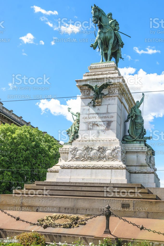 Monument to Giuseppe Garibaldi in the square in front of the Sforzesco Castle in Milan, Italy. stock photo