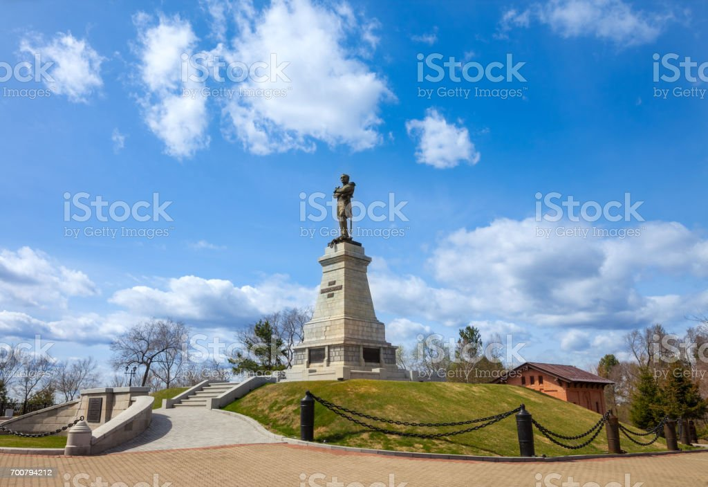 Monument to graph Muravyov-Amursky the founder of Khabarovsk stock photo