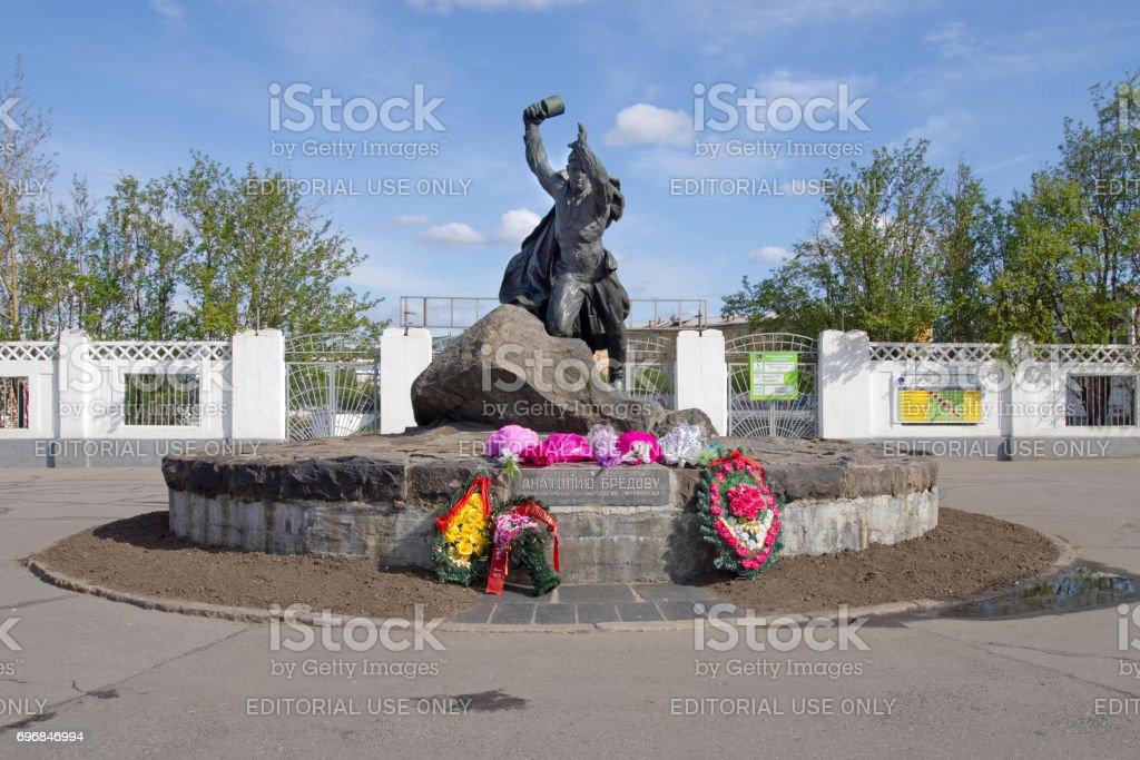 Monument to hero Anatoly Bredov on Lenin Street stock photo