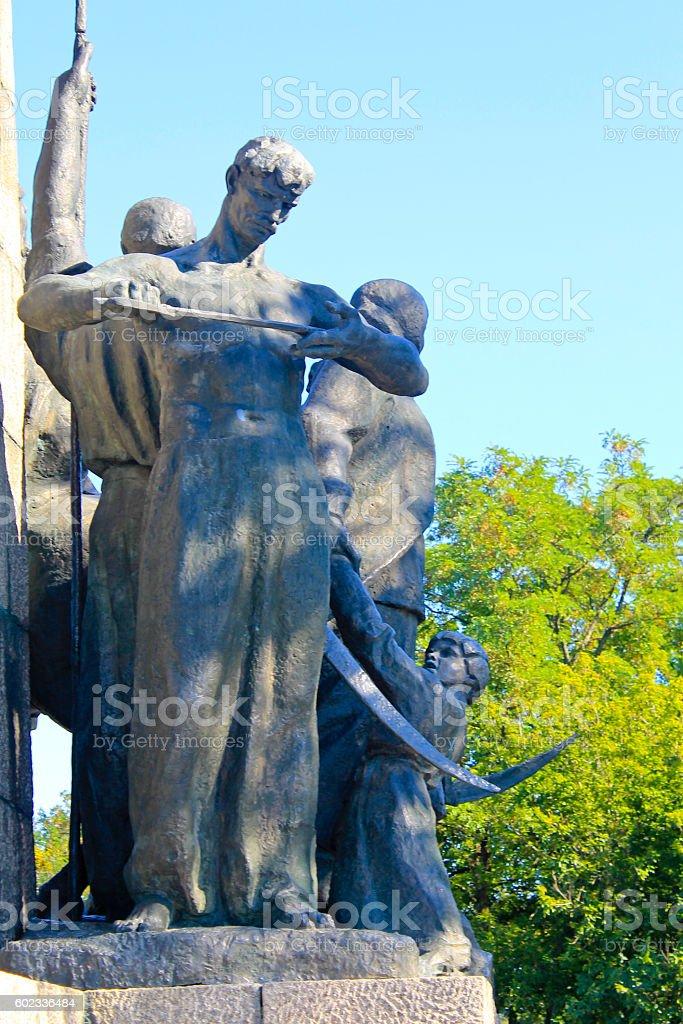 Monument to heroes of liberation war in Chigirin, Ukraine stock photo