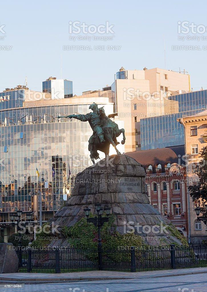 Monument to hetman Bogdan Khmelnitsky on Sofia square. Kiev, Ukraine stock photo