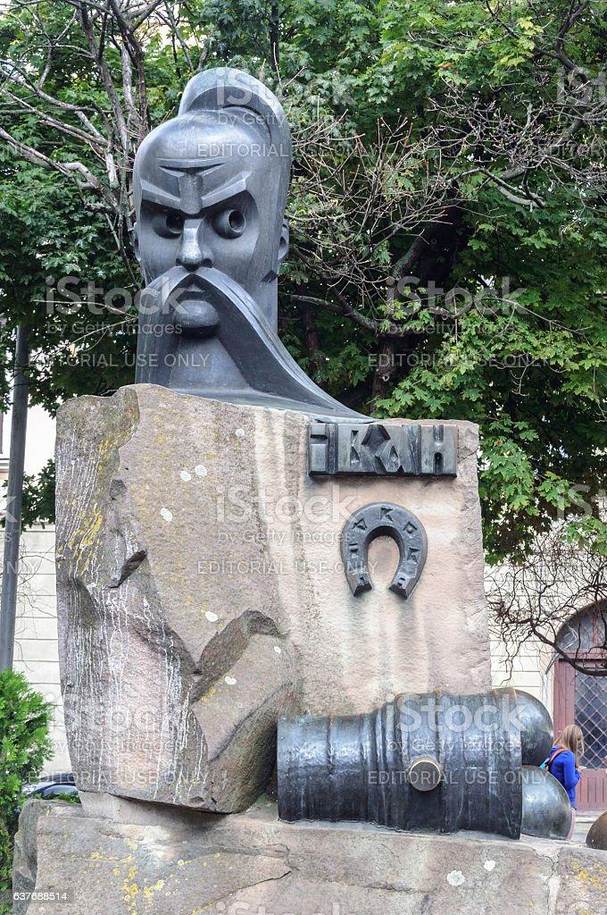 Monument to Ivan Pidkova in Lviv stock photo