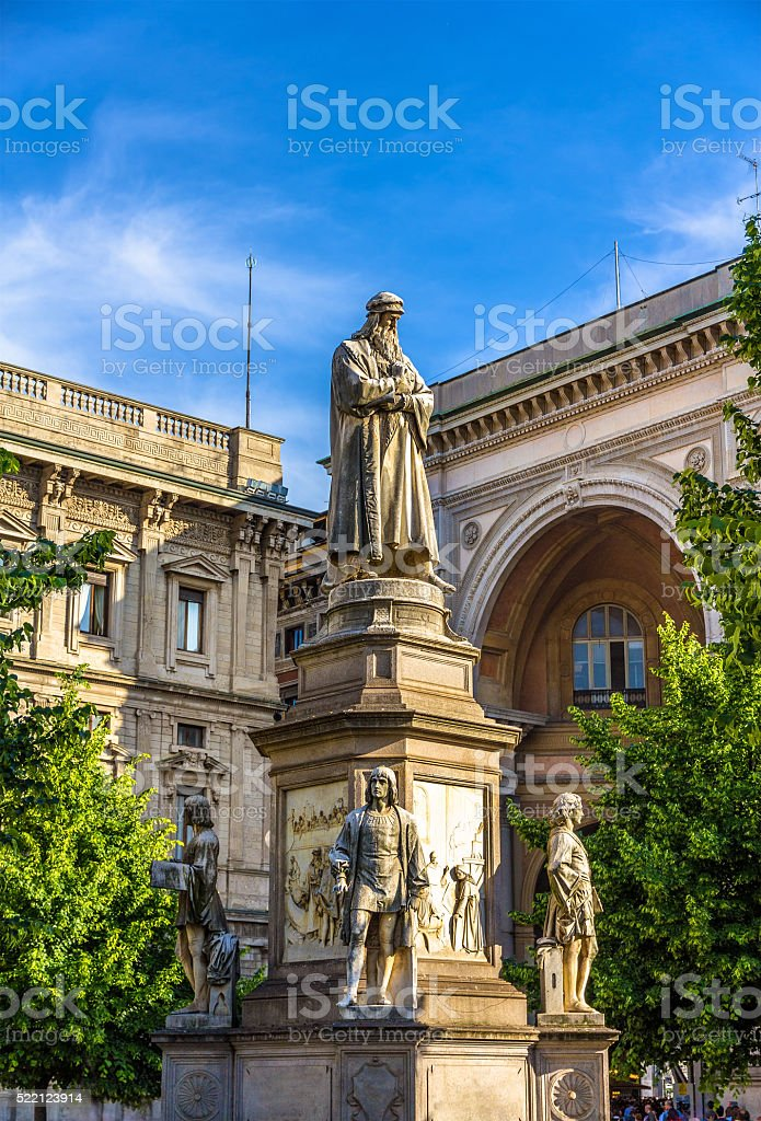 Monument to Leonardo da Vinci in Milan stock photo
