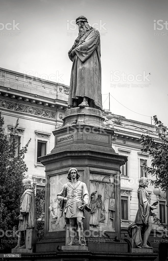 Monument to Leonardo da Vinci stock photo