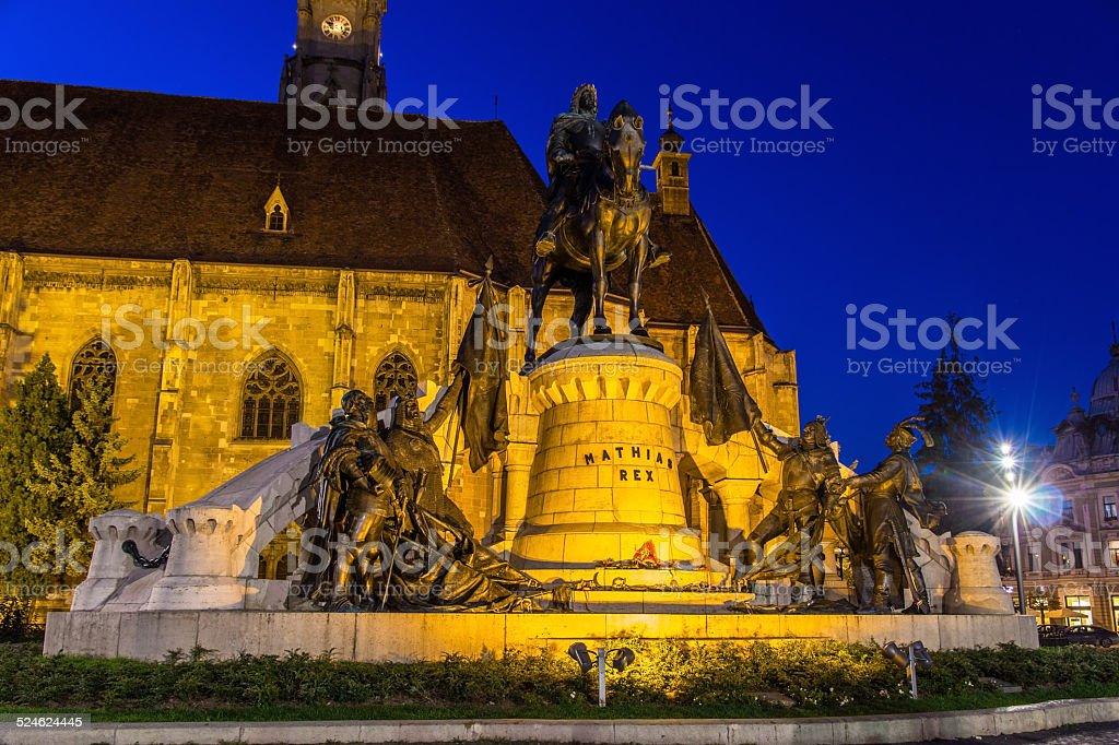 Monument to Mathias Rex in Cluj-Napoca, Romania stock photo