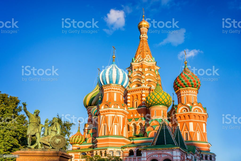 Monument to Minin and Pozharsky and St Basil's cathedral stock photo