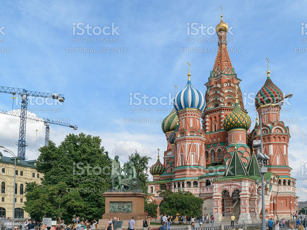 Monument to Minin and Pozharsky near Christ the Savior Cathedral stock photo