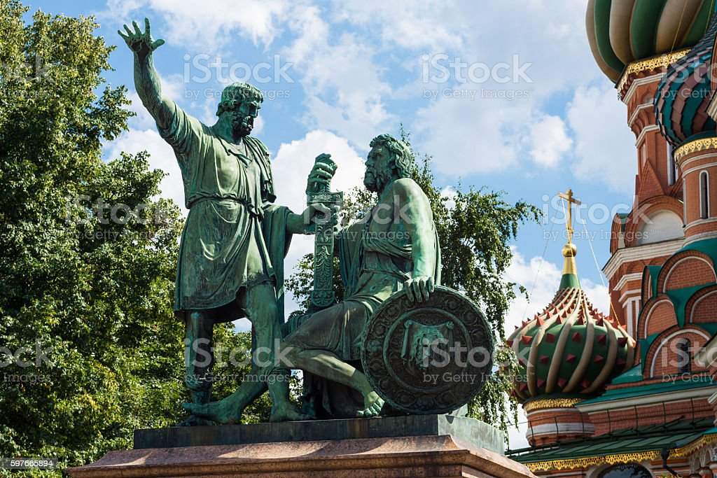 Monument to Minin and Pozharsky. stock photo
