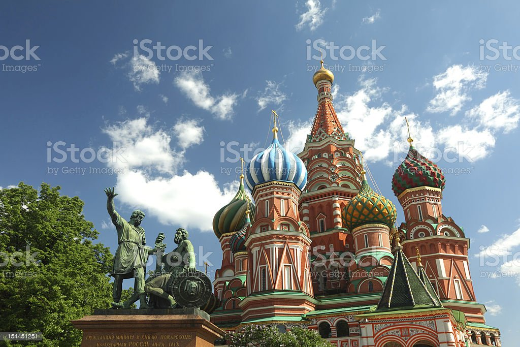 Monument to Minin and Pozharsky, Saint Basil's Cathedral stock photo