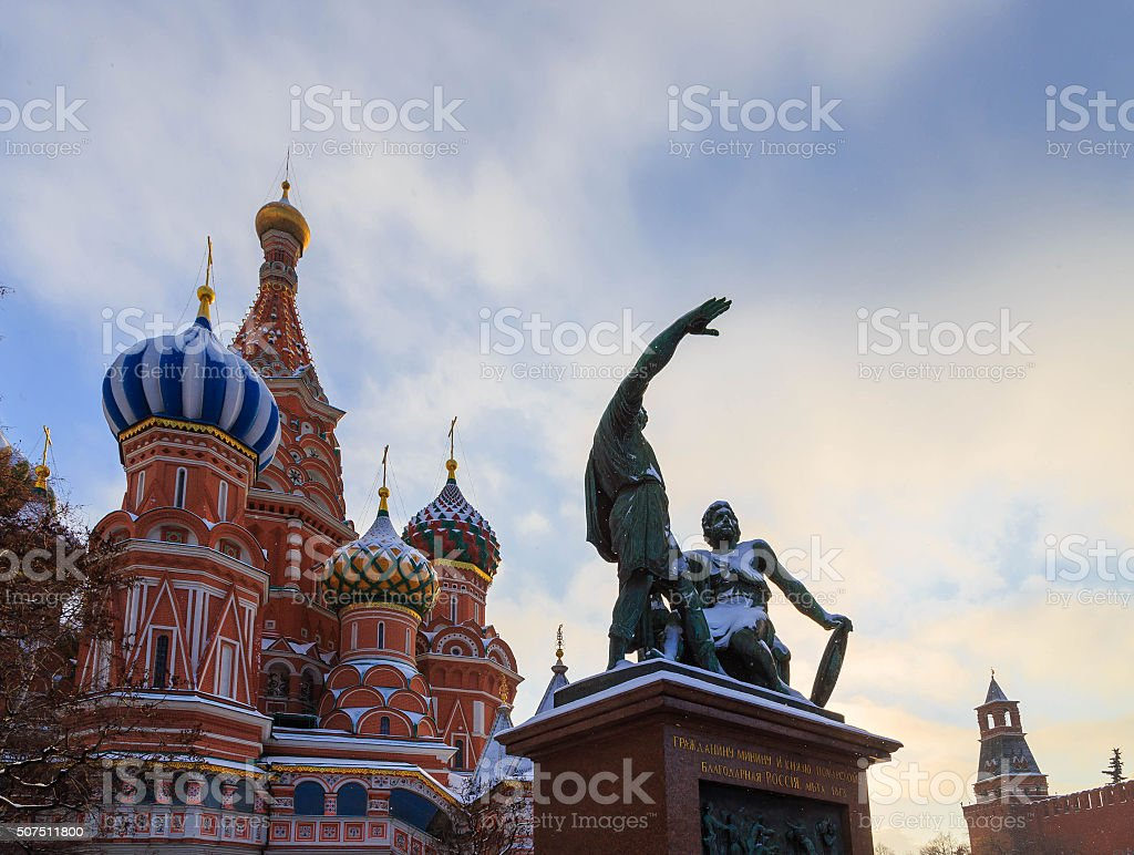 Monument to Minin and Pozharsky winter day clouds stock photo