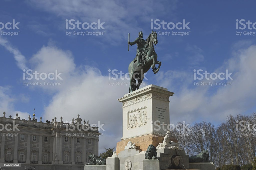 Monument to Philip IV on Plaza de Oriente. Madrid, Spain royalty-free stock photo