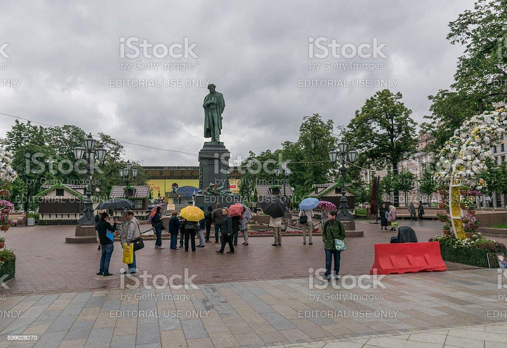 Monument to poet Alexander Pushkin. stock photo