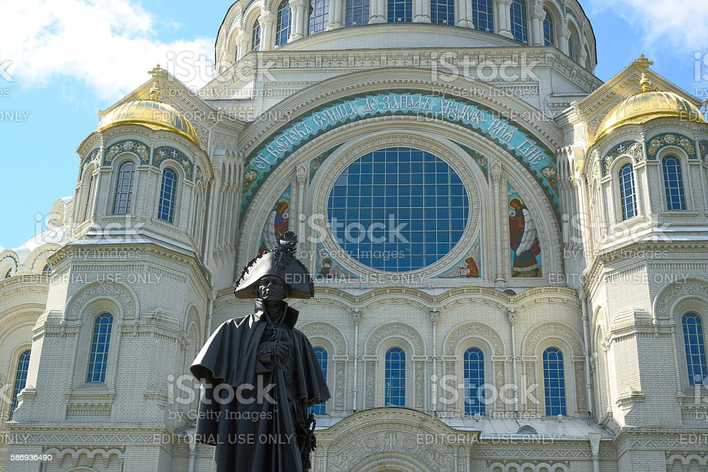 Monument to Russian Admiral Fyodor Ushakov Sea stock photo