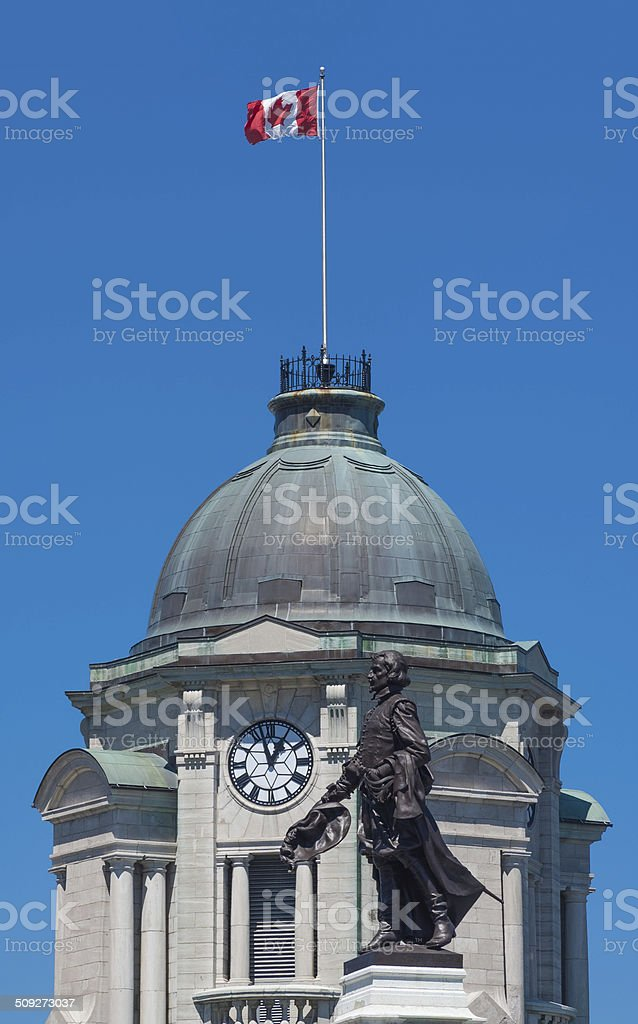 Monument to Samuel De Champlain, founder of the Quebec City stock photo