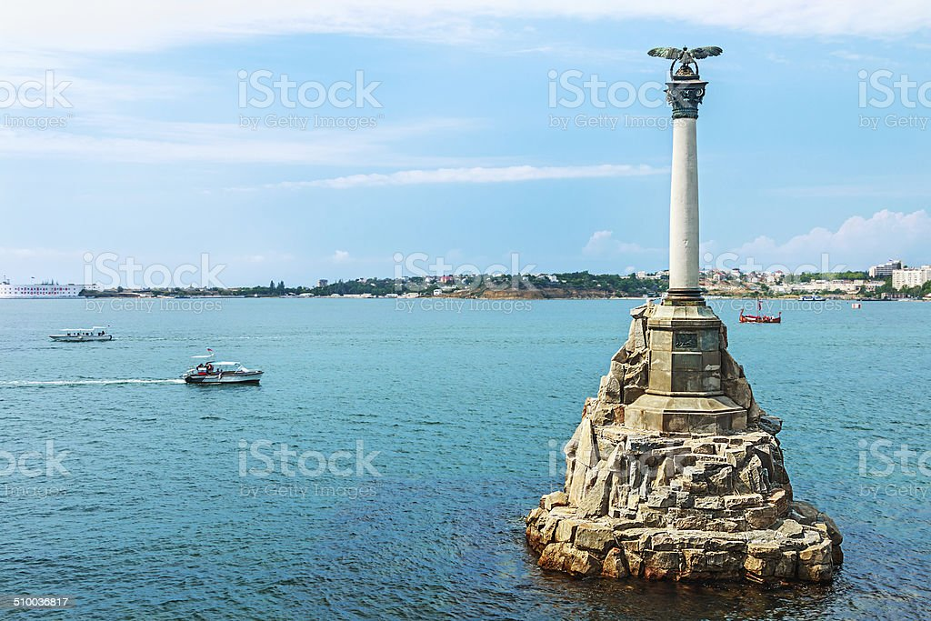 Monument to scuttled Russian ships to obstruct entrance to Sevastopol bay stock photo