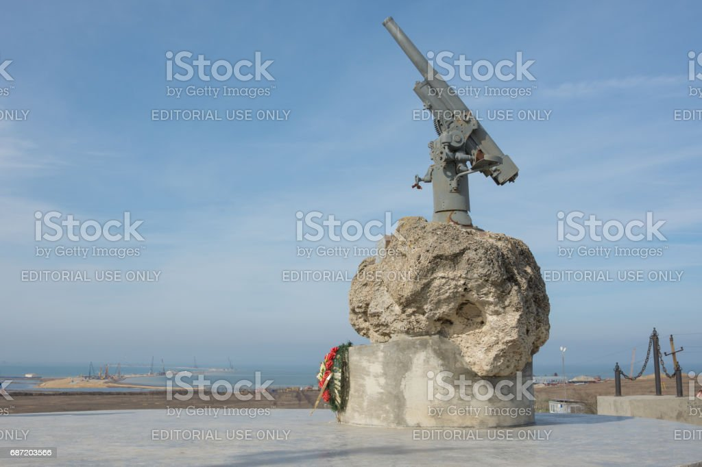 Taman, Russia - March 8, 2016: A monument to Soviet paratroopers in the Tuzla Spit - Lender gun with armored BKA 73 Azov flotilla Black Sea Fleet, who died 02.11.1943 in Kerch-Eltigen Operation stock photo