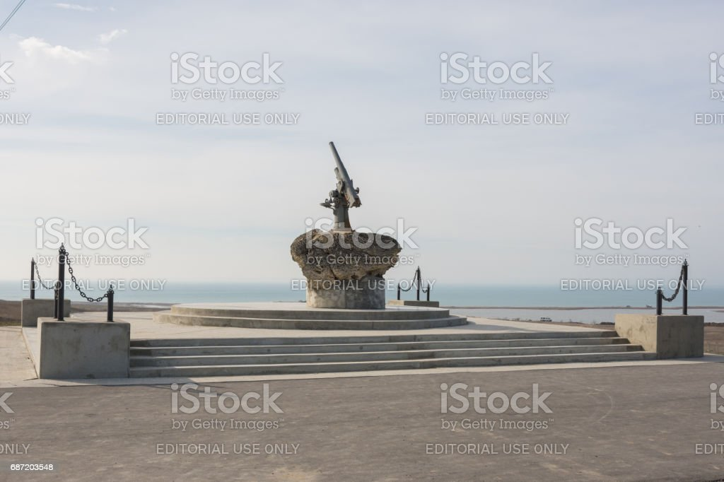 Taman, Russia - March 8, 2016: Monument to Soviet paratroopers - Lender gun with armored BKA 73 Azov flotilla Black Sea Fleet, who died 11.02.1943 in Kerch-Eltigen Operation stock photo
