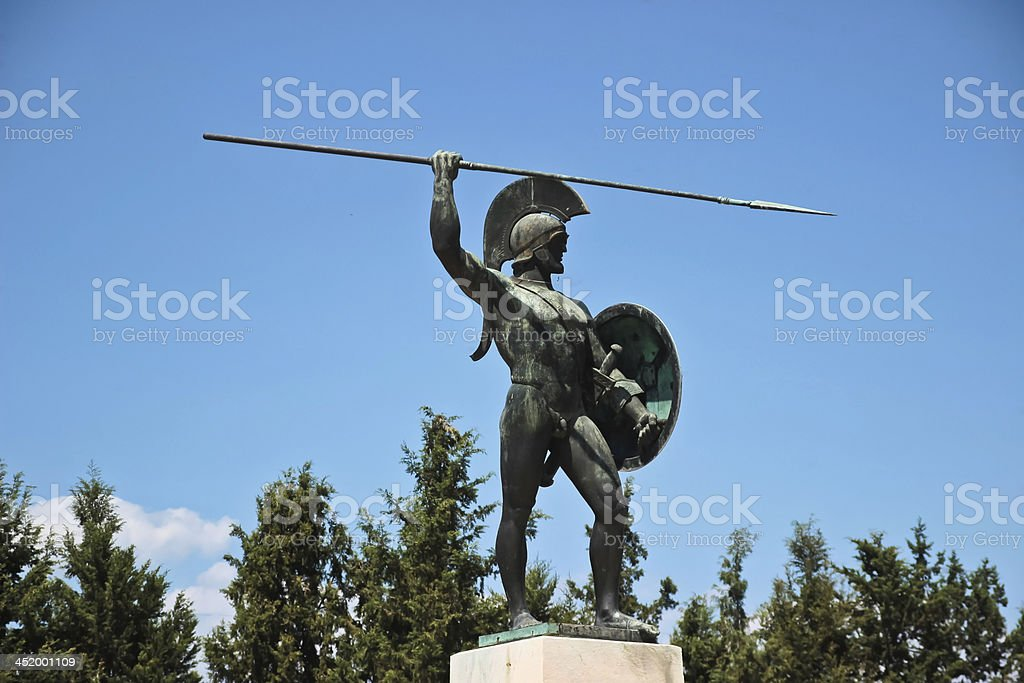 Monument to Spartans in Greece stock photo