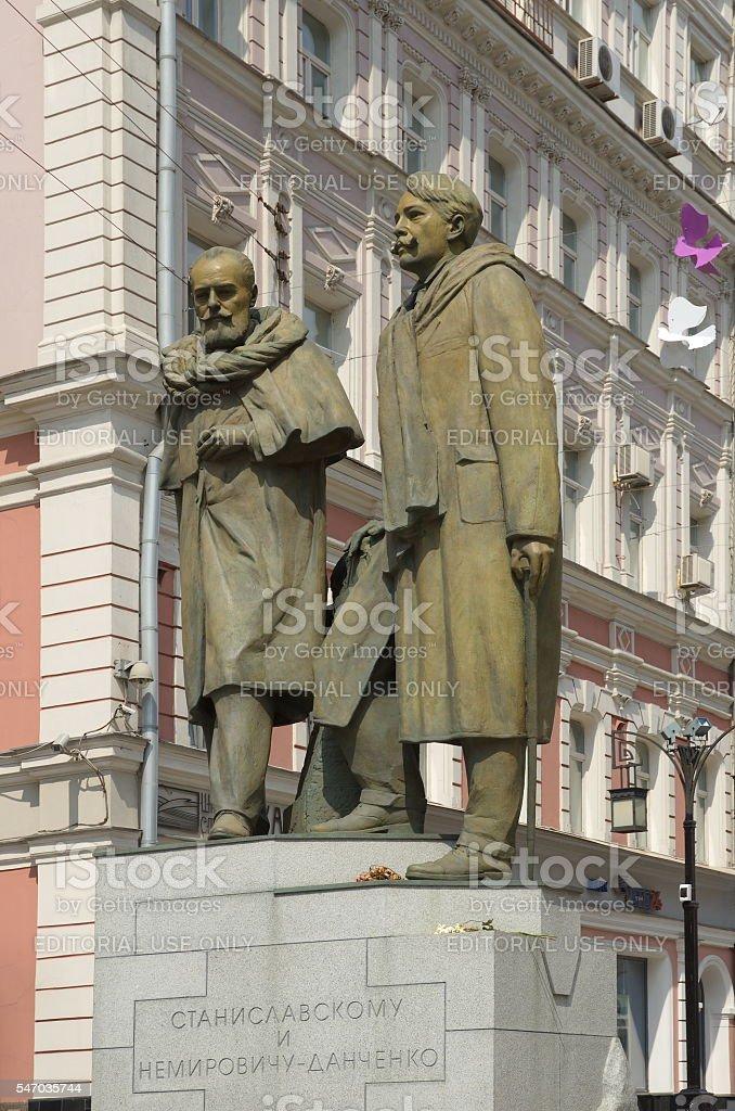 Monument to Stanislavsky and Nemirovich-Danchenko, Moscow, Russia stock photo