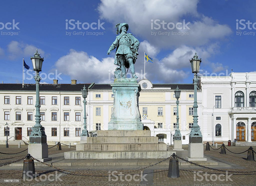 Monument to swedish king Gustav II Adolf in Gothenburg royalty-free stock photo