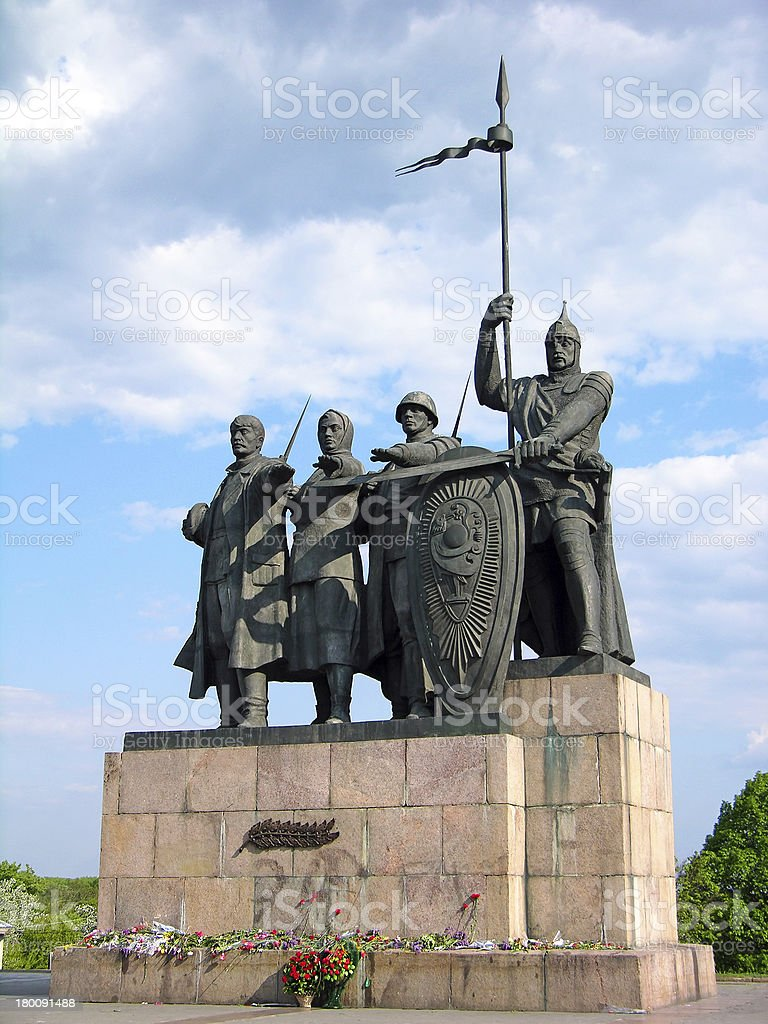 Monument to the Defenders of Chernigiv stock photo