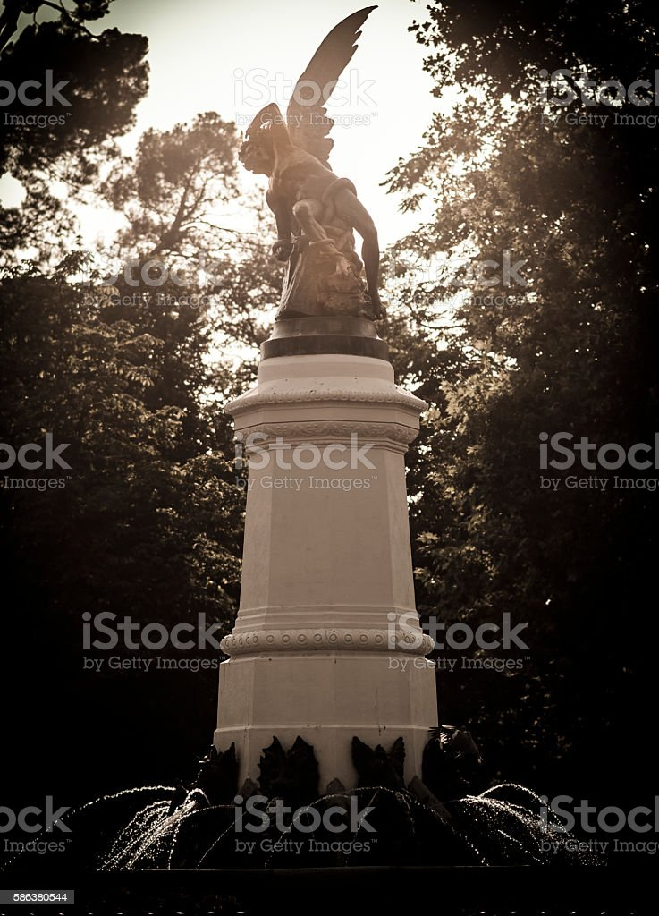 Monument to the devil in Madrid. stock photo