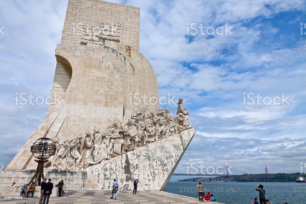 Monument to the Discoveries in Belem, Lisbon, Portugal stock photo