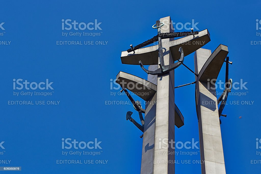 Monument to the fallen shipyard workers stock photo