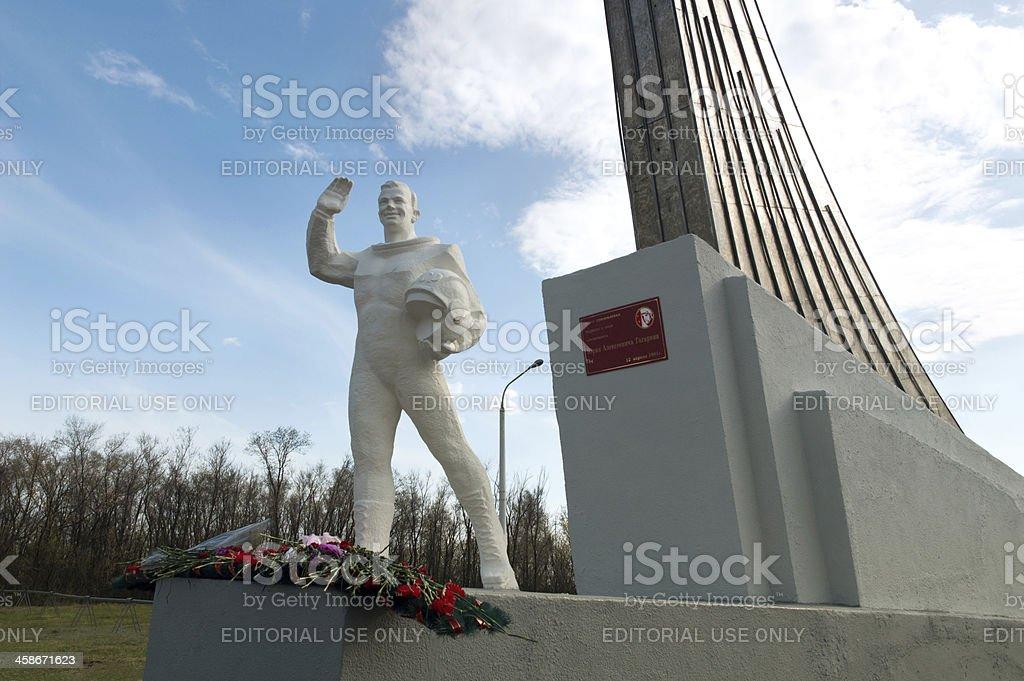 Monument to the first cosmonaut Yuri Gagarin stock photo