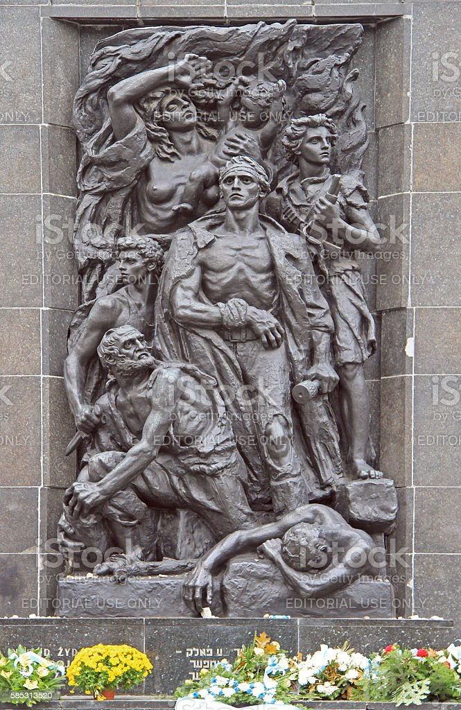 Monument to the Ghetto Heroes in Warsaw, Poland stock photo