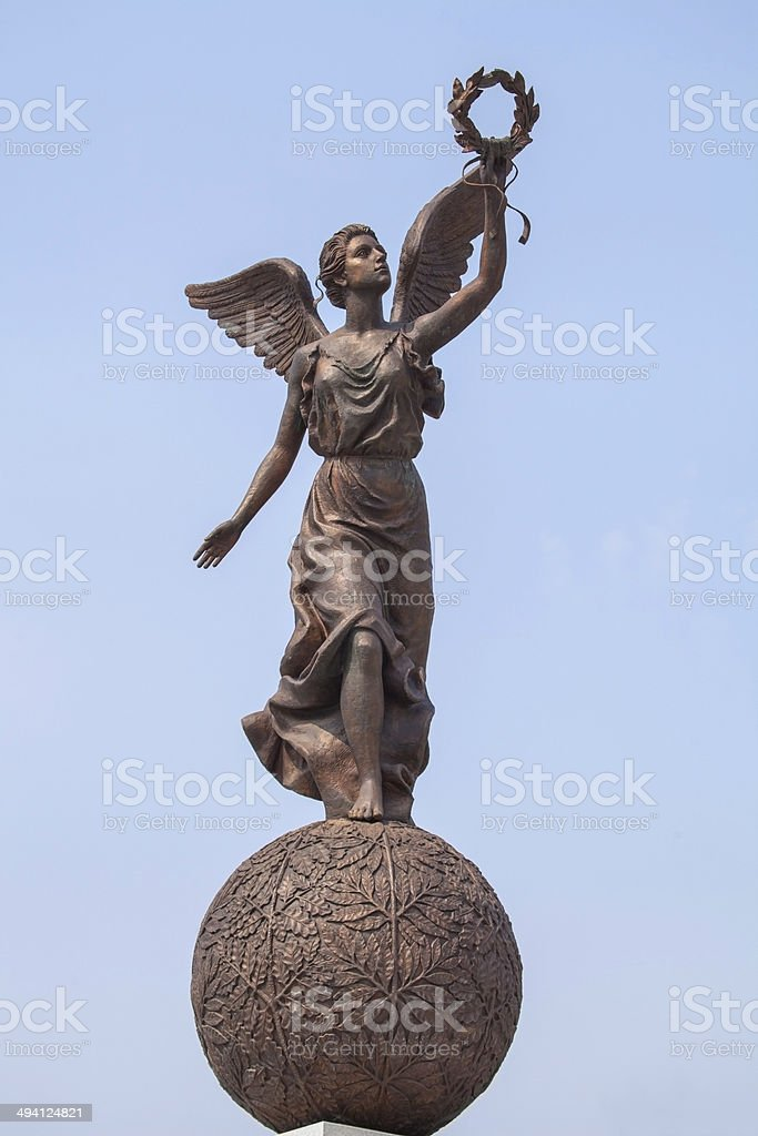 Monument to the Goddess of victory Nike on sphere. stock photo