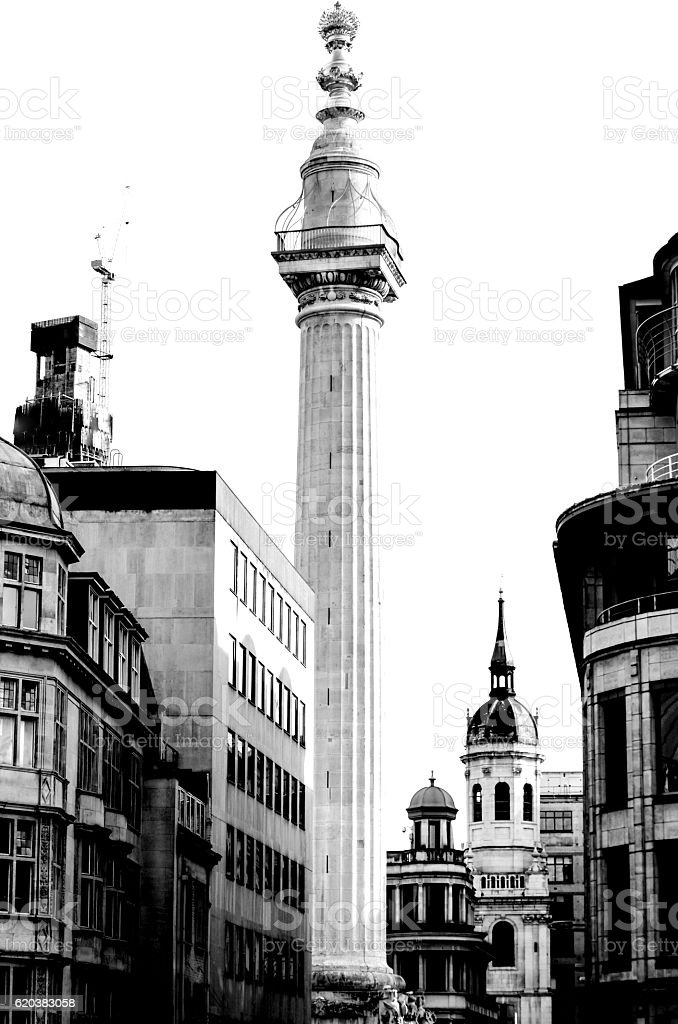 Monument to the Great Fire of London (B&W) stock photo