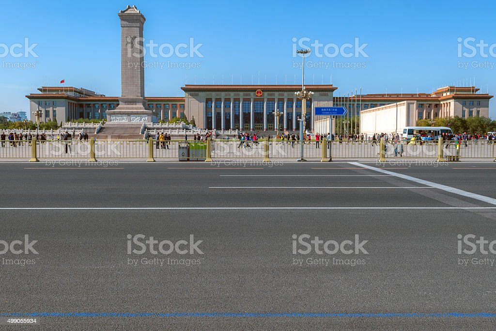 Monument to the People's Heroes on Tian'anmen Square,China stock photo