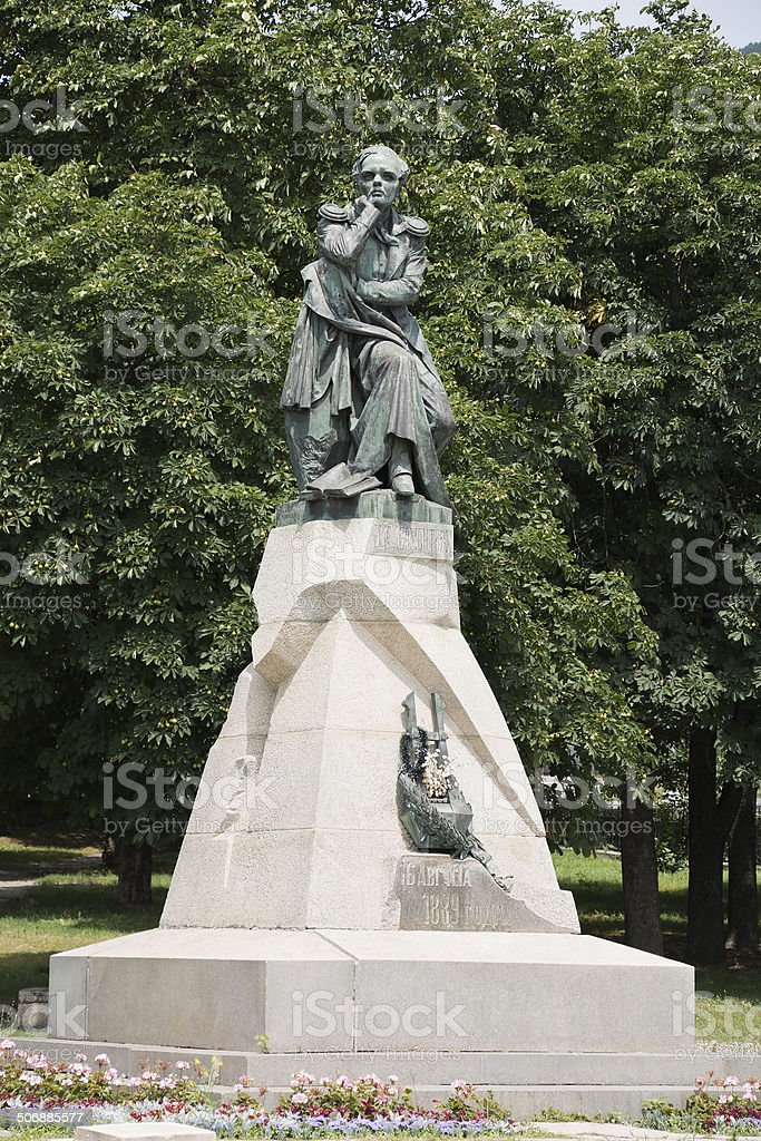 Monument to the poet Lermontov in Pyatigorsk, Russia stock photo