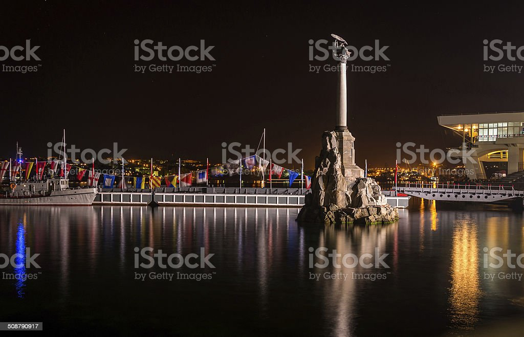 Monument to the Scuttled Ships at night stock photo