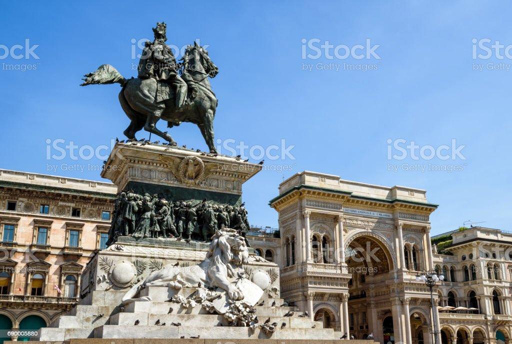 Monument to Vittorio Emanuele II and Galleria Vittorio Emanuele II, Milan stock photo