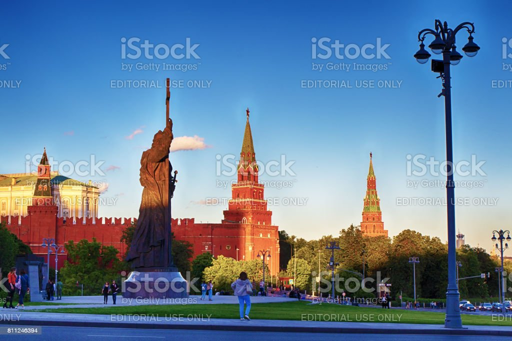 Monument to Volodymyr the Great on the background of the Moscow Kremlin. A popular tourist destination. Russia Moscow. stock photo