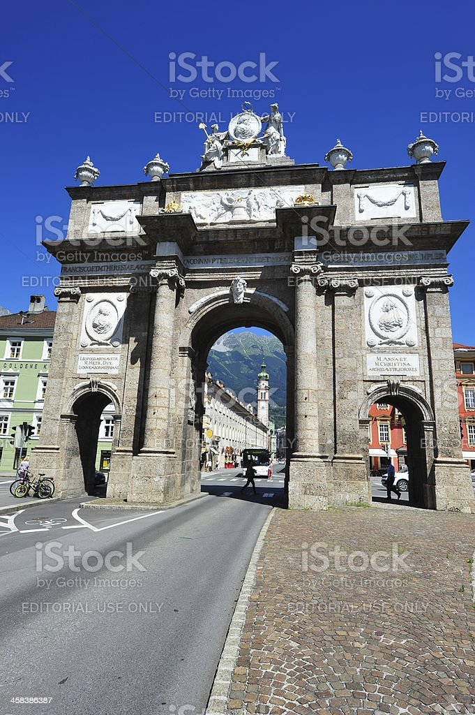 Monument Triumphpforte, Innsbruck, Austria royalty-free stock photo