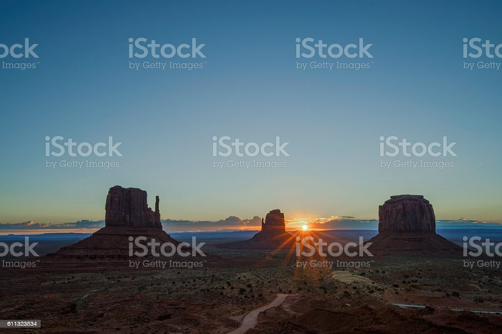 Monument Valley at dawn stock photo