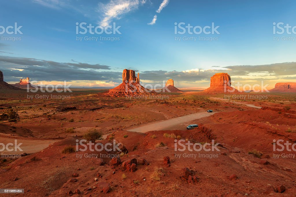 Monument Valley at sunset, Arizona, USA stock photo