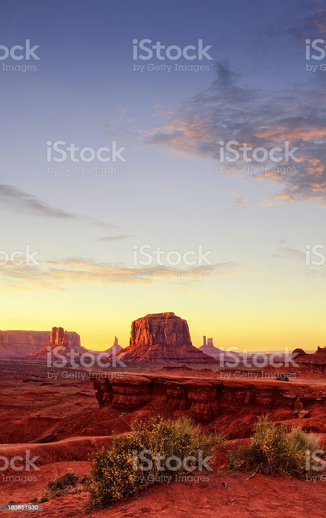 Monument Valley at Sunset stock photo