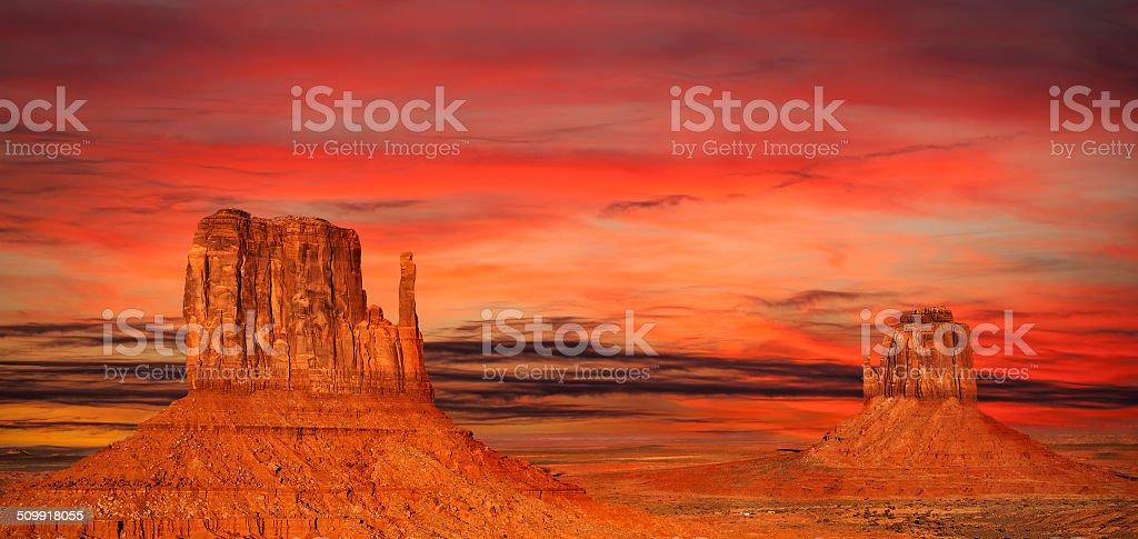 Monument Valley at sunset, Utah, USA. stock photo