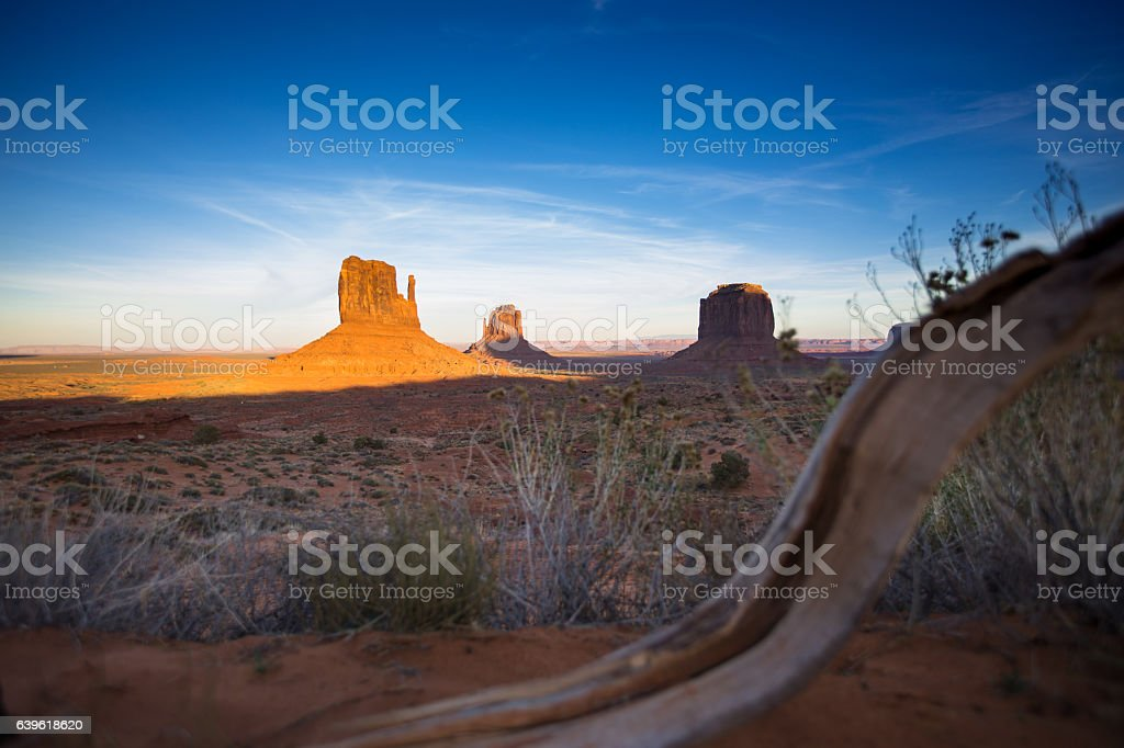 Monument Valley Buttes at Dusk stock photo